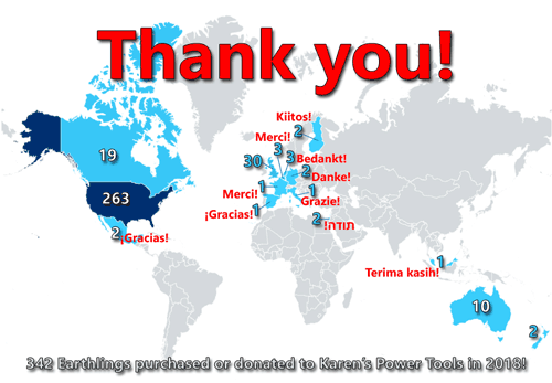 Map: 342 Earthlings purchased or donated to Karen's Power Tools in 2018!