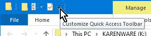 Access the Customize Quick Access Toolbar menu by clicking down arrow on the bar itself.