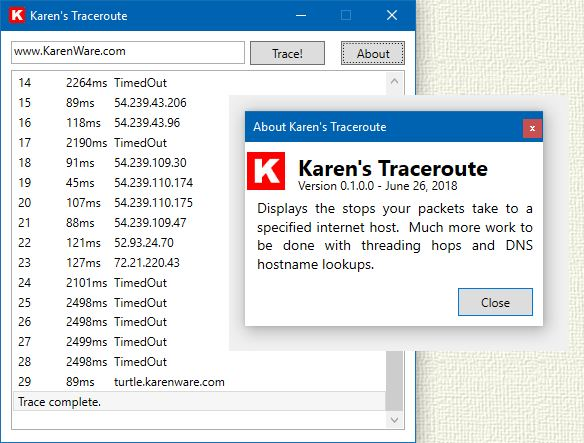 Download your copy of Karen's Traceroute